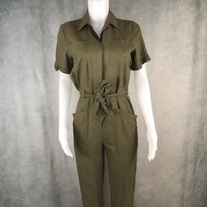 Solid Army Green Short Sleeve Button up Jumpsuit